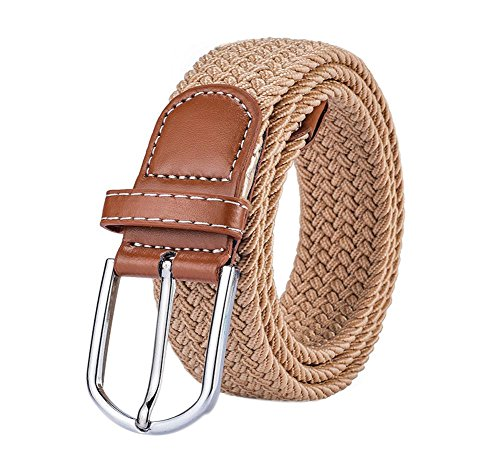 Emorias 1 Pcs Cinturon de Unisex Ocio Lona Trenzado Correas Mujer Hombre Vaqueros Simple Cinturones Elastico Juventud - Caqui