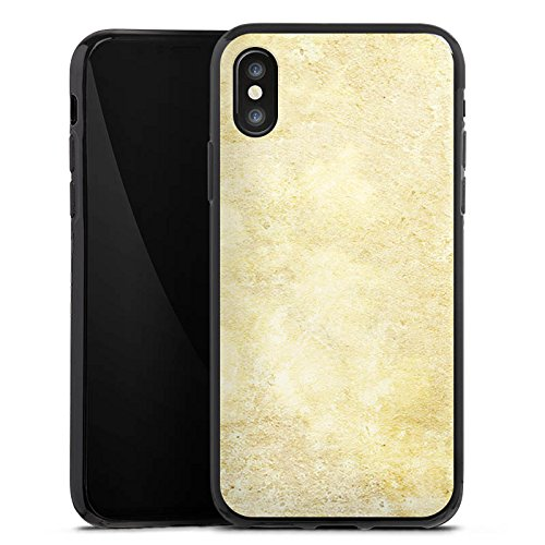 Apple iPhone X Silikon Hülle Case Schutzhülle Stein Look Muster Wand Silikon Case schwarz