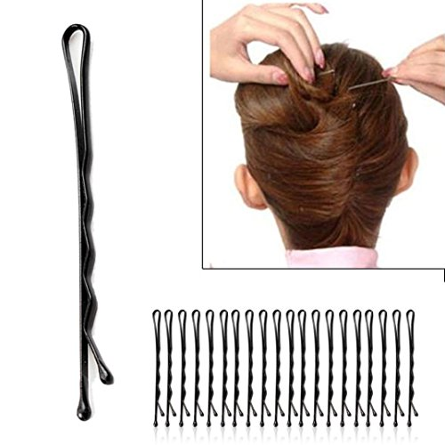 Épingle à cheveux, Toamen Épingle de fil Ondulé Pinces à cheveux noir 60Pcs/set