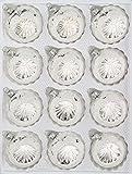 12 tlg. Glas-Weihnachtskugeln Set in 'Hochglanz Vintage Silver' Christbaumkugeln - Weihnachtsschmuck-Christbaumschmuck-Reflektorkugeln-Reflexkugeln-Reflector Ball