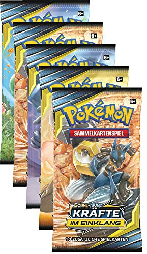 Unbekannt Sonne & Mond Serie 10 - Kräfte im Einklang - 5 Booster - Deutsch - 5 Pokemon Karten-packs