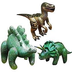 3 piezas de dinosaurios inflable Brachiosaurus(Conjunto de 3,incluyendo Stegosaurus,velociraptor,Triceratops),Animales grandes inflables Juguetes para el juego interior y al aire libre