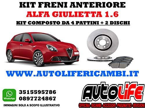 Kit freni anteriore Giulietta 1.6 e 2.0 composto da 2 dischi e 4 pastiglie per confezione di Autolif