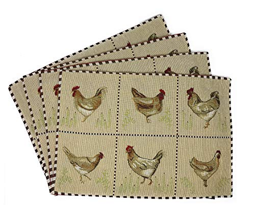 Tache Home Fashion Country Farmhouse Rooster Hens Antique Vintage Traditional Home Decorative Woven Tapestry Placemats Ivory Square Dinner Plate