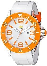 40Nine Mens 40NINE01/ORANGE3 Extra Large 50mm Analog Display Japanese Quartz White Watch