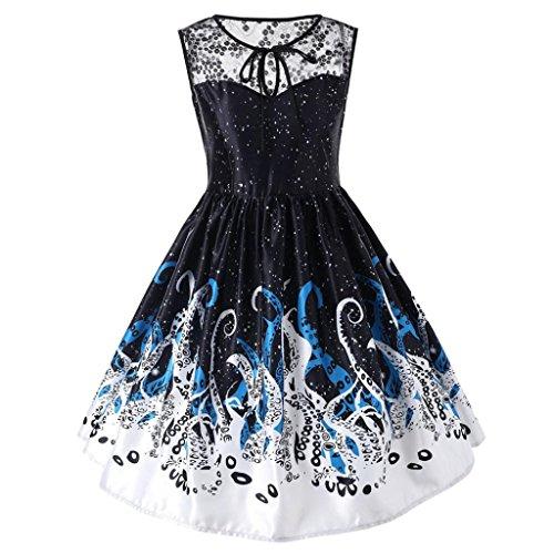 Heiß! Damen Vintage Kleid Yesmile Hepburn 50er Jahre Retro Vintage Ärmelloses Party Kleid Dot Blumendruck Kleid Retro Abend Party Prom Swing Kleid Täglich Cocktailkleider (3XL, D-Schwarz)