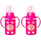 Naughty Kidz Premium Borosilicate Handy Glass Bottle With Ultrasoft LSR Nipple||Silicone Bottle Warmer||Easy To Hold Handle||Key TEETHER||Hood Retaining Cap And Sealing DISC Ring (Pink+Pink)