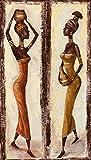 Artland Leinwand-Bild fertig aufgespannt auf Holzfaserplatte mit Motiv A. S. Afrikanische Frau I, II Menschen Frau Malerei Creme 40 x 70 x 1,2 cm A6OE
