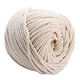 CozofLuv Makramee Garn Garn Baumwolle Kordel Baumwollegarn Baumwollschnur Rope für DIY Handwerk Basteln Wand Aufhängung Pflanze Aufhänger (95m * 4mm)