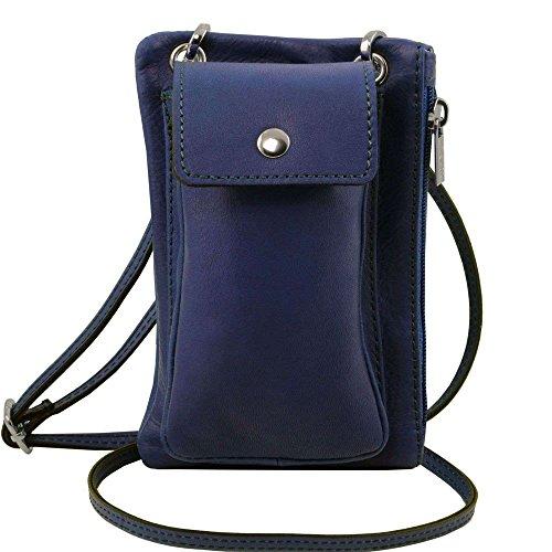 Tuscany Leather - TL Bag - Sac bandoulière pour portable en cuir souple - Bleu foncé