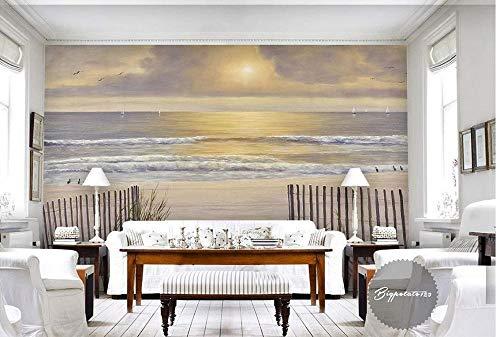natur sonne weiß sand wellen holzzaun meerblick 3d wallpaper hauptdekoration vlies 350x245 cm