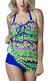 FEOYA - Traje de Baño Bikini de 2 piezas Bañador de Mujer Tallas Grandes Elástico Estampado Floral Ropa de Natación para Playa Fiesta de Piscina - Multicolor 1 - Talla 6XL (ES 50)