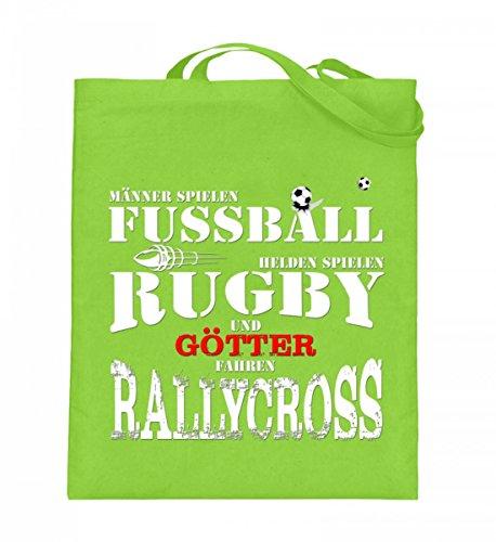Hochwertiger Jutebeutel (mit langen Henkeln) - Fussball,Rugby,Rallycross Limette