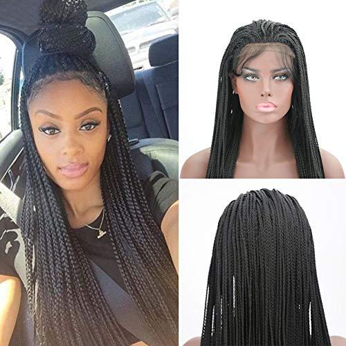 tene Perücken Lange Lace Front Perücke Handgemachte gewebte Perücke mit Babyhaar Natural Black Long Twist Braid Perücken 24 Zoll für schwarze Frauen ()