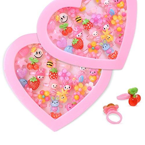36 x Anillos Para Niños Joyería De Lujo Para Niños Caja Del Formato Del Corazón Tamaño Ajustable