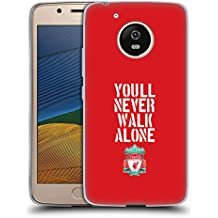 Official Liverpool Football Club Stencil Red Crest You'll Never Walk Alone Soft Gel Case for Motorola Moto G5