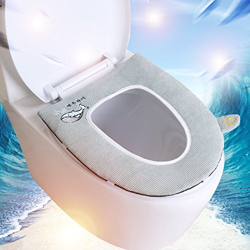 Hagyh Summer, Thin Toilet, Toilet Seat Cushion, Seat Handle, Toilet Seat, Zipper Type Waterproof, Four Seasons Universal Toilet Seat,Korean Wind Belt Cover. Amber Brown -