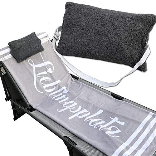 JEMIDI Kissen mit verstellbarem Gummizug für Sonnenliegen und Stühle Multikissen für Strandlaken Strandtuch Strandliege Gartenstuhl Schlafkissen Reisekissen Kopfkissen Anthrazit