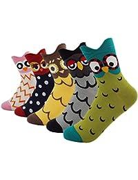 Aitos Chaussettes Femme Filles Coton Chaussettes Multicolore Cute Animal Design Animal Automne Hiver Lot de 5/6