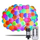 Lichterkette Bunt, Afufu 100er LED Kugel Lichterkette 13m Innen/Außen mit Fernbedienung, RGB, Memory-Funktion 8 Modi Deko Glühbirne für Weihnachten, Party, Garten, Hochzeit, Weihnachtsdeko (Bunt)