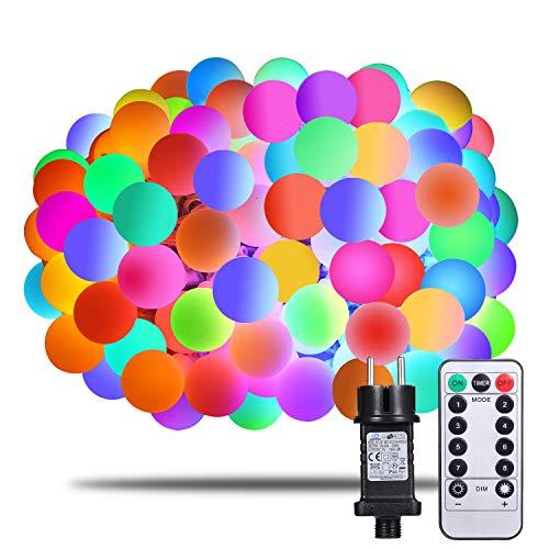 fufu 100er LED Kugel Lichterkette 13m Innen/Außen mit Fernbedienung, RGB, erweiterbar, Memory-Funktion 8 Modi Deko Glühbirne, Party, Garten, Hochzeit, Weihnachtsdeko (Bunt) ()