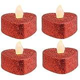 MACOSA NO88164 4er Set LED Teelicht Herz | Rot Glitzer | Hochzeits-Dekoration | inkl. Batterie | Warm-Weiß | LED Kerzen | Tisch-Deko | Romantik - 2