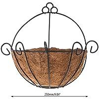 Dabixx Maceta de jardín de Hierro de Coco Bricolaje Maceta Colgante cestas de Pared de Olla semicircular - 25cm