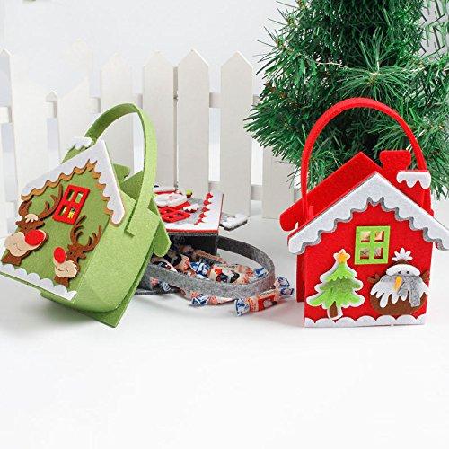Bluelover Weihnachtstag Stocking Dekoration Santa Candy Bag Stocking Taschen Santa Claus Hand Bag - Rot