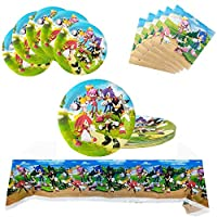 KSNOW Sonic The Hedgehog Birthday Party Decoration, 20 Plates + 10 Napkins + Tablecloth, Sonic The Hedgehog Party Supplies