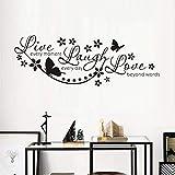 Live Laugh Love Wandkunst Aufkleber Schmetterling Stern Zitieren adesivo de parede entfernbare Vinyl Wandaufkleber Home Garden Decoration 120cmx42cm