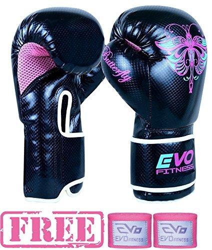 Evo Fitness Damen GEL Rex Leder Boxen Handschuhe Punch Tasche MMA Muay Thai Martial Kunst Kick Boxen - 14 Oz (Tasche Für Boxhandschuhe)