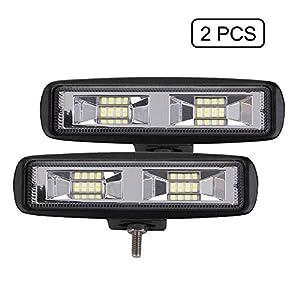 YGL 18W Barra de Luz de Trabajo LED 2PCS 6 Pulgadas Luz de Trabajo LED Flood LED Off Road Barra de Luces de Niebla de Conducción para SUV Camión