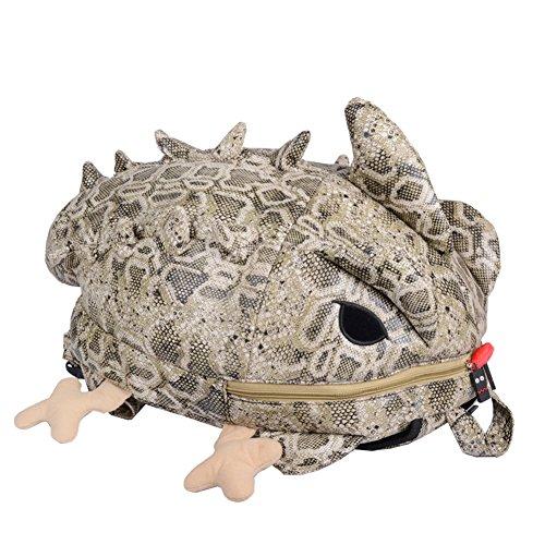 Dopobo Particularité Sac Scolaire en Forme de 3D Caméléon , Double Zippé Sac à Dos Voyage en PU de Motif de Serpent Pour les Fille ou Garçon Voyage ou Université (jaune)