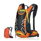 Fahrradrucksack 15L Trinkrucksack Stylisch Wasserdicht Rucksäcke für Radsport Radfahren Running Laufen Jogging, Raincover enthalten (Orange)