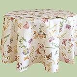 Kamaca Serie Schmetterlinge AUF DER BLUMENWIESE in Creme mit zarten Pastelltönen EIN Schmuckstück in jedem Raum (Tischdecke Rund Durchmesser 130cm)