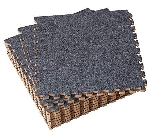 Umi. Essentials 1' x 1'(30cm x 30cm ) Schaumstoff Plüsch-Ineinandergreifende Bodenmatten  (9 Pcs) (Dunkel Grau) -