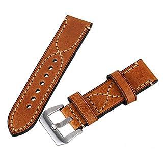 Braun 24 mm Breite Vintage Echtleder Military Uhren Gurt Band poliert Schnalle