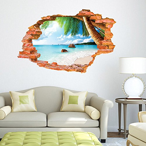 Lifeup 3d adesivi murali grandi camera da letto soggiorno spiaggia luce del sole molto - Adesivi murali camera da letto ...