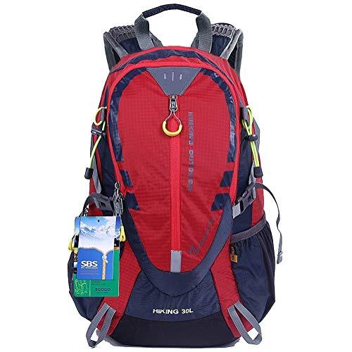 EGOGO 30L Wasserdicht Wanderrucksack Camping Rucksack mit Regenschutz Laufen Radfahren im freien S2316 (Rot) -