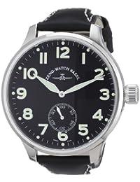 Zeno Watch Basel Super Oversized 9558SOS-6-pol-a1 - Reloj analógico manual para hombre, correa de cuero color negro (agujas luminiscentes, cifras luminiscentes)