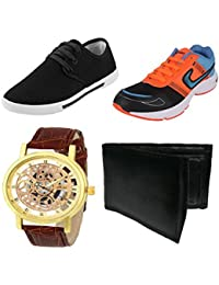Bersache Men Combo Pack Of 4 Casual With Sports Shoes,Watch & Wallet (6 UK)