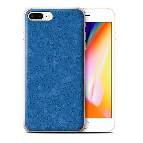 Stuff4 Hülle / Case für Apple iPhone 8 Plus / Türkis Muster / Blatt-Strudel-Muster Kollektion Blau