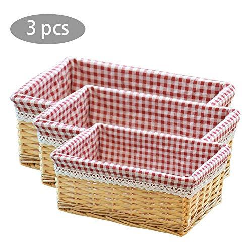 Ablagekorb, 3PCS / Set Wicker Wäschekörbe - Square Woven Basket - Rechteckiger Korb - Dirty Home Wäschekorb - Obstkorb Picknickkorb - Vier Farben Sind Verfügbar -