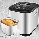Aicok Machine à Pain 15 programmes, Machine a Pain Programmable avec Départ différé Jusqu'à 15H, Maintien au chaud 1H, 3 Tailles de pain et 3 degrés de bronzage, pour yaourt, pain sans gluten, gâteaux