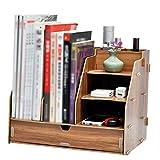 QFFL zhuomianshujia Desktop-Aufbewahrungsbox Multifunktions-Büro-Regal aus Holz Aktenregal (4 Farben, 3 Stile) Bücherregale (Farbe : Kirschholz, größe : 325 * 236 * 260mm)
