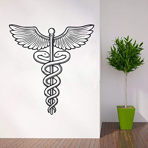zqyjhkou Medizin Symbol Wandtattoo Abnehmbare Vinyl Wandaufkleber Krankenhaus Wand Poster Caduceus Vinyl Aufkleber Krankenhaus Wandbild Ay0237 57x60cm