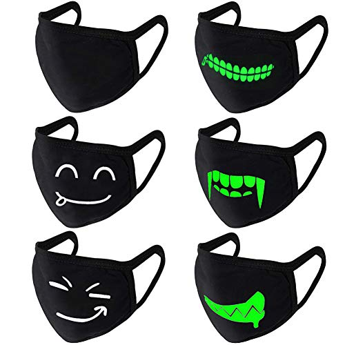 Dsaren algodón máscara antipolvo negra mascara luminosa Unisexo Boca MáScara antipolvoTranspirable Cubre bocas Para Adolescentes Hombres Mujeres Ciclismo Deporte al Aire Libre 6PCS