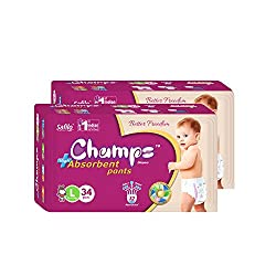 Champs Pant Style Diaper Large (34 Pieces) - Pack Of 2