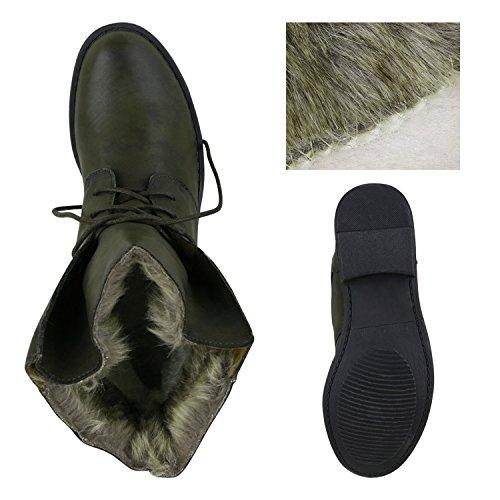 Damen Schuhe Worker Boots Warm gefüttert mit Blockabsatz Dunkelgrün