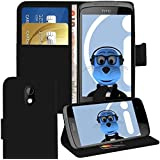Orzly HTC Desire 500 BLACK Executive Wallet Case Cover Skin Cover with HORIZONTAL VIEWING STAND Holder